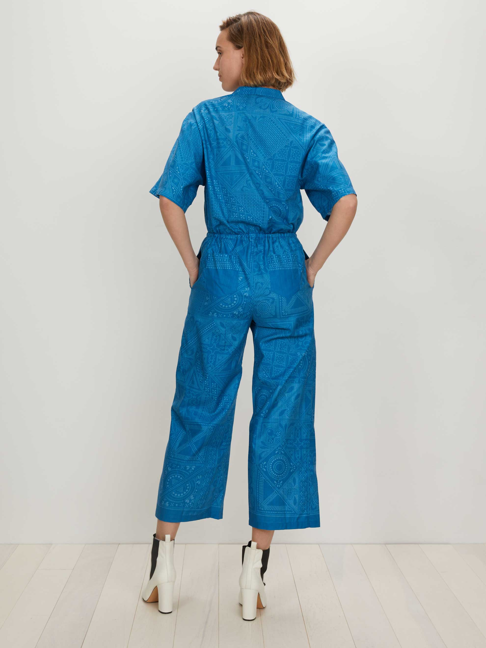 Boxy Jumpsuit | Medium Blue Batik