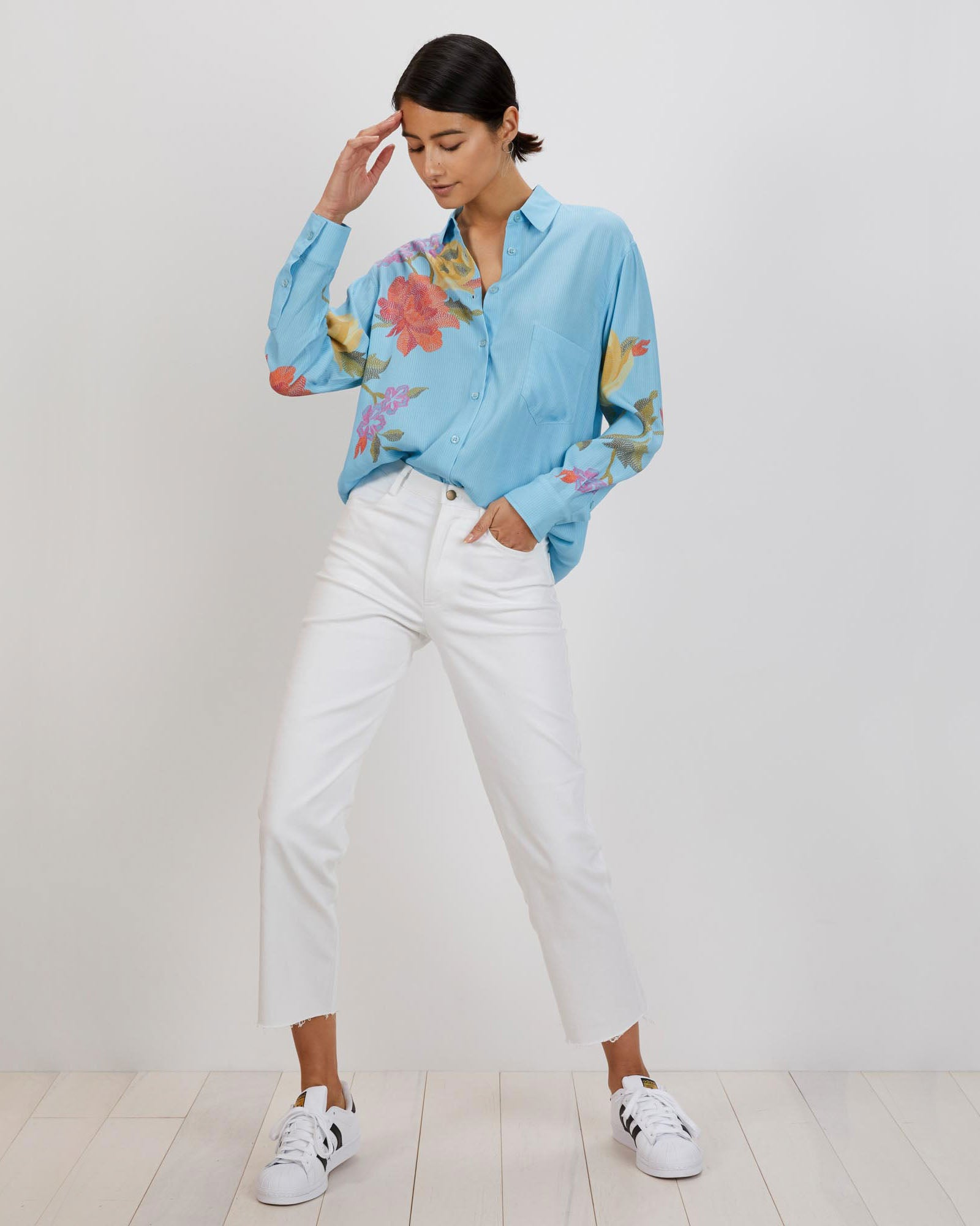 Zoe Shirt | KIT Blue Stitch Florals