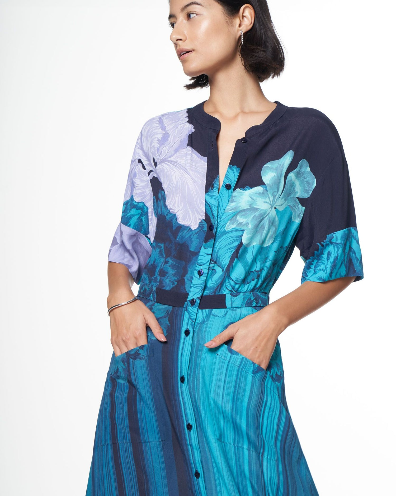 Cobie Shirtdress | Ocean Iris