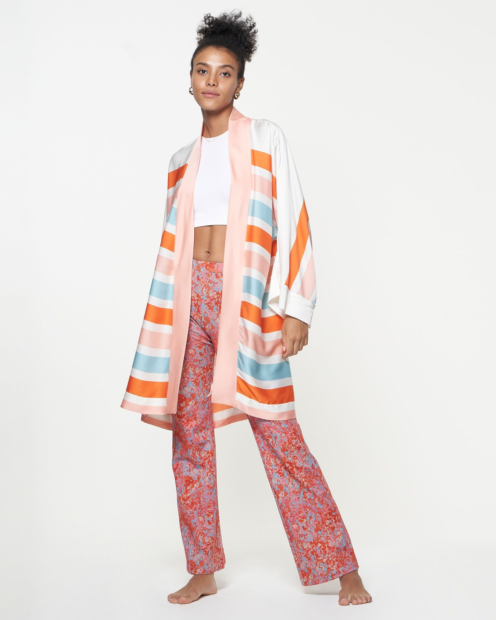 Brea Robe | Blush Kennedy Stripe