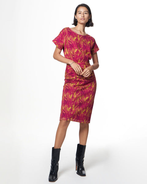 Lennon Dress | Cerise Swirl