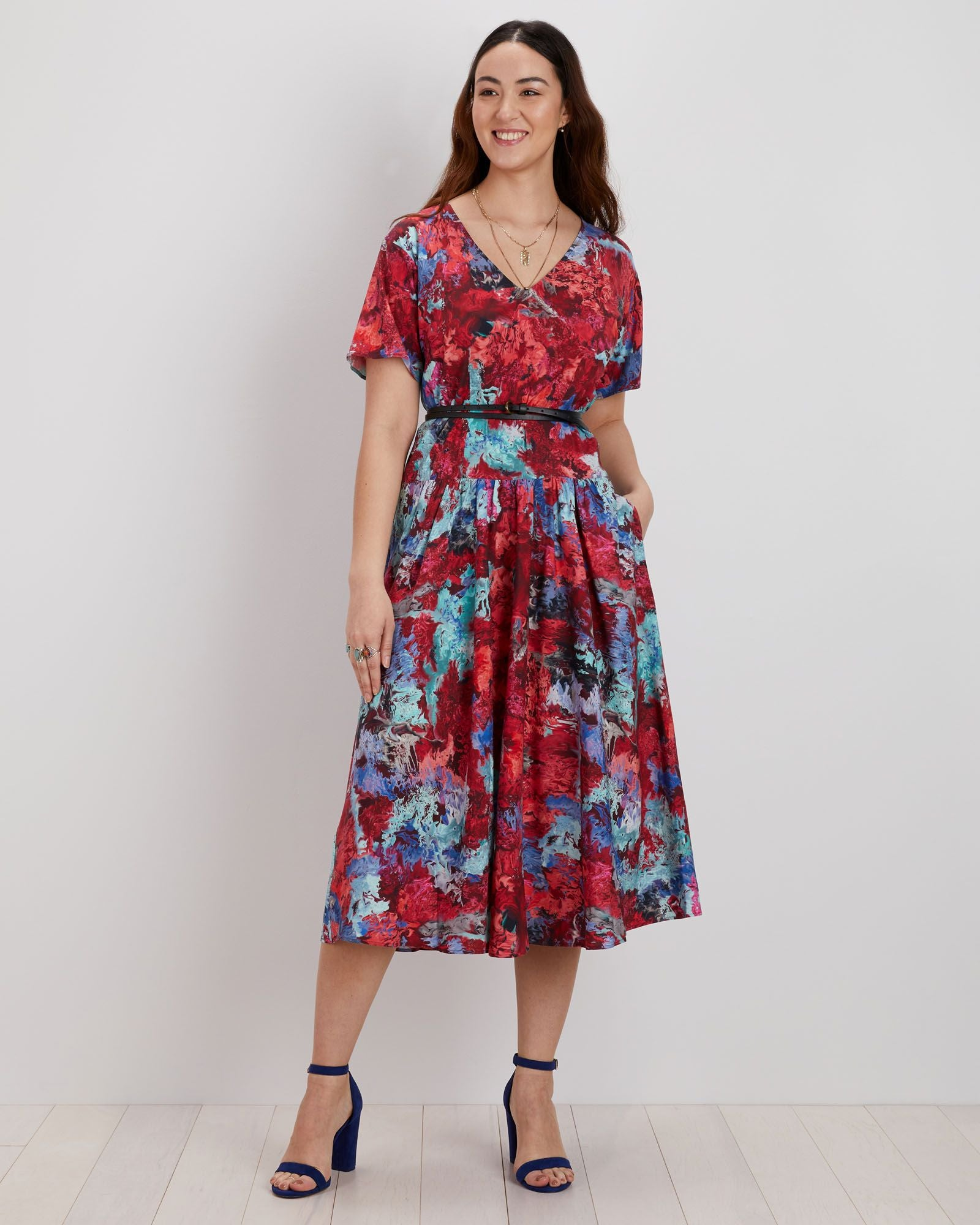 Sloane Dress | Cerise Blur
