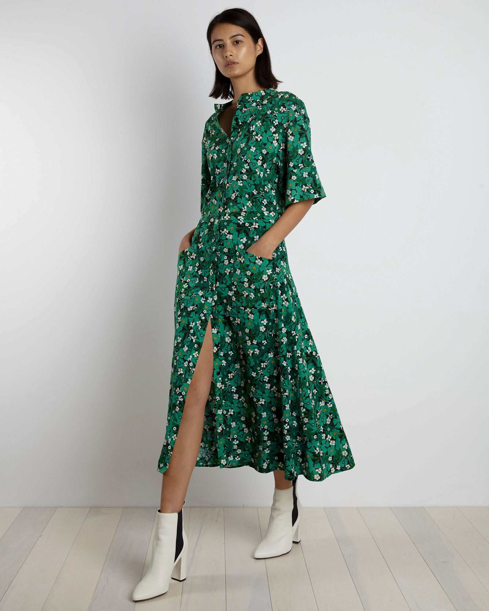 Cobie Shirtdress | Dark Green Primrose