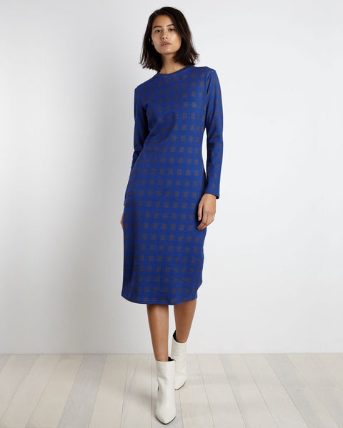 Midi Tee Dress | Blue Gingham