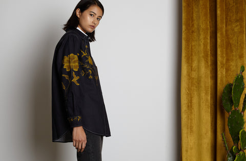 Oversized Buttondown Shirt | Navy Gold Embroidered Floral