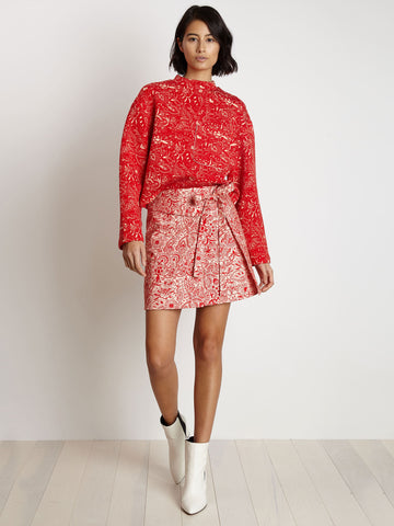 red paisley skirt