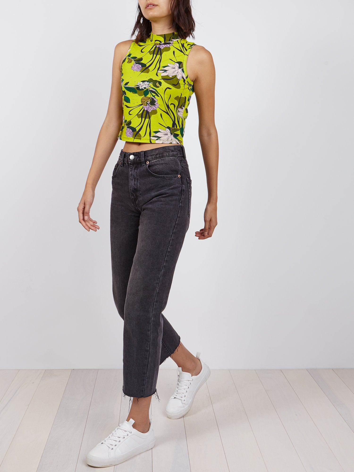 Cropped Mock Turtleneck | Lime Beach Floral