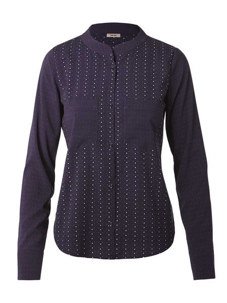 Long Sleeve Cobie Blouse | Navy Dot Stripe