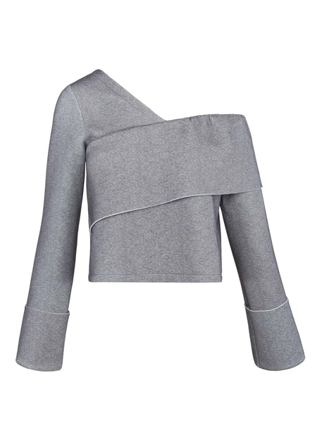 Off-the-Shoulder Sweatshirt | Heathered Grey