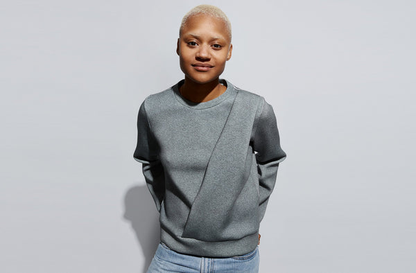 Side Drape Sweatshirt | Heathered Grey