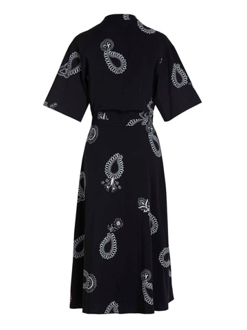 relaxed button-front navy paisley long shirtdress with a fitted waist and full skirt