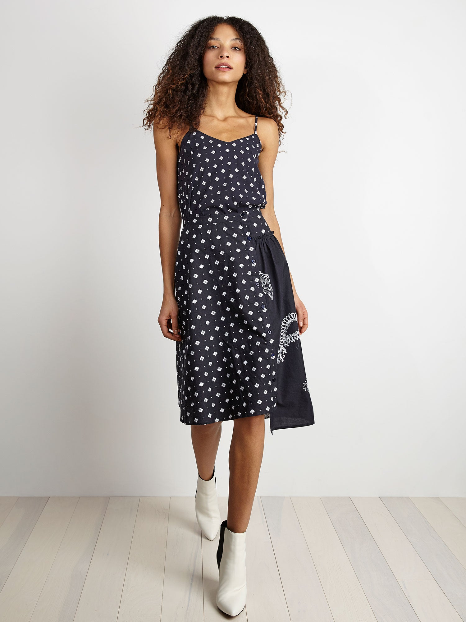 button-front full skirt with asymmetrical gathering in navy jewel print