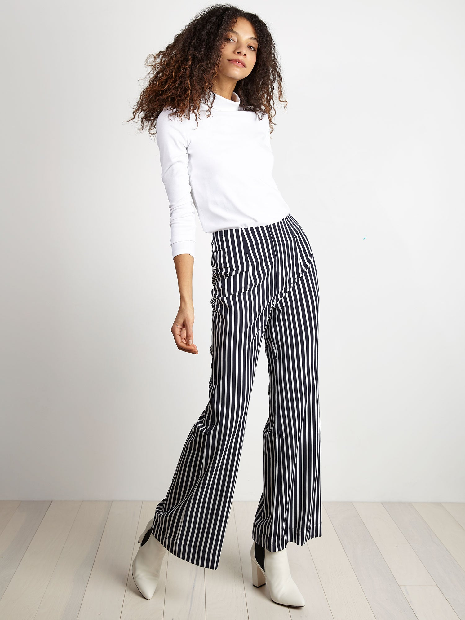 navy thin white vertical stripe flared-leg pant