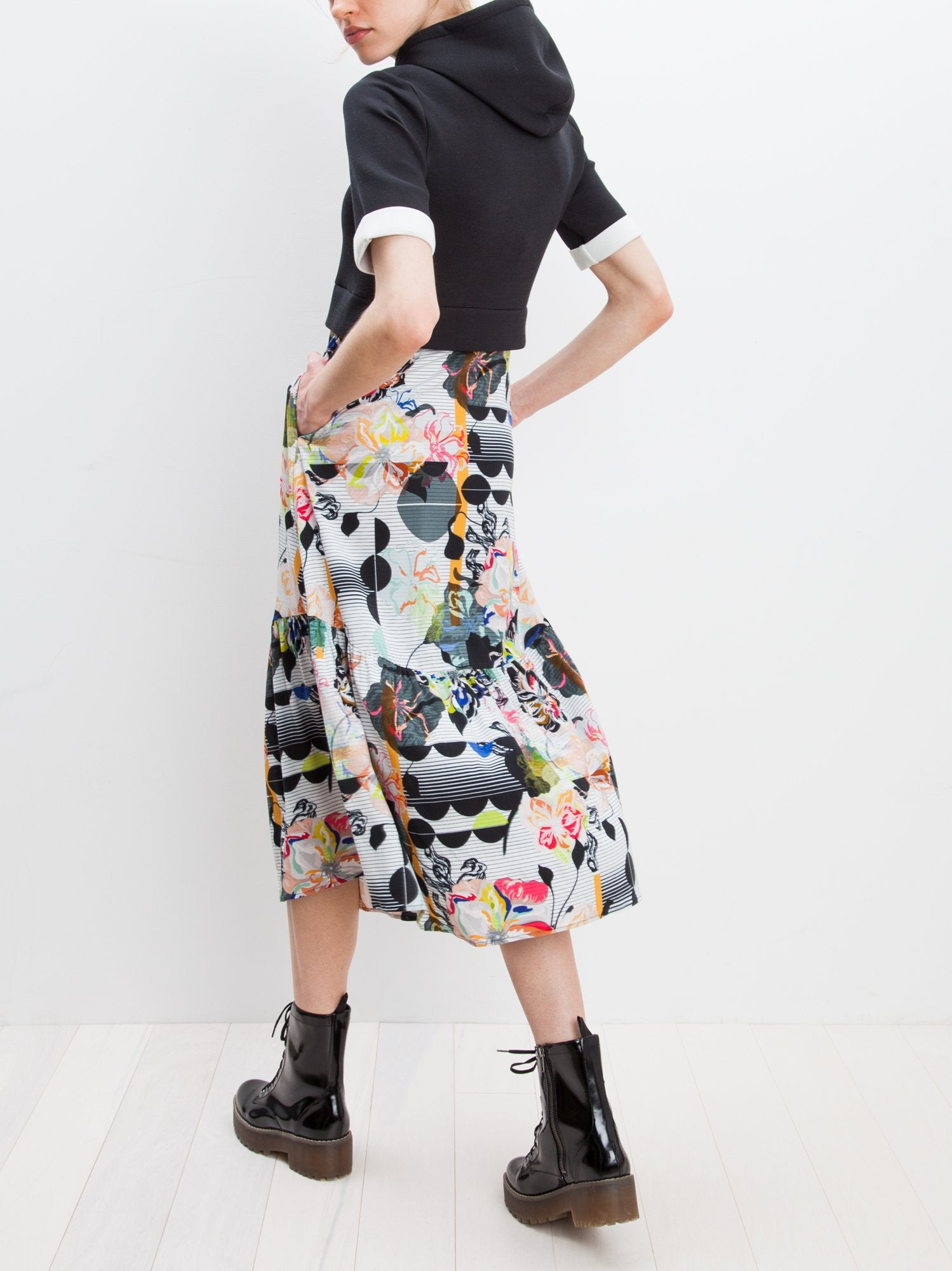 Hoodie Trapeze Dress | Black Graffiti Floral