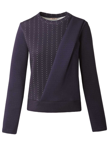 Side Drape Sweatshirt | Navy Dot Stripe