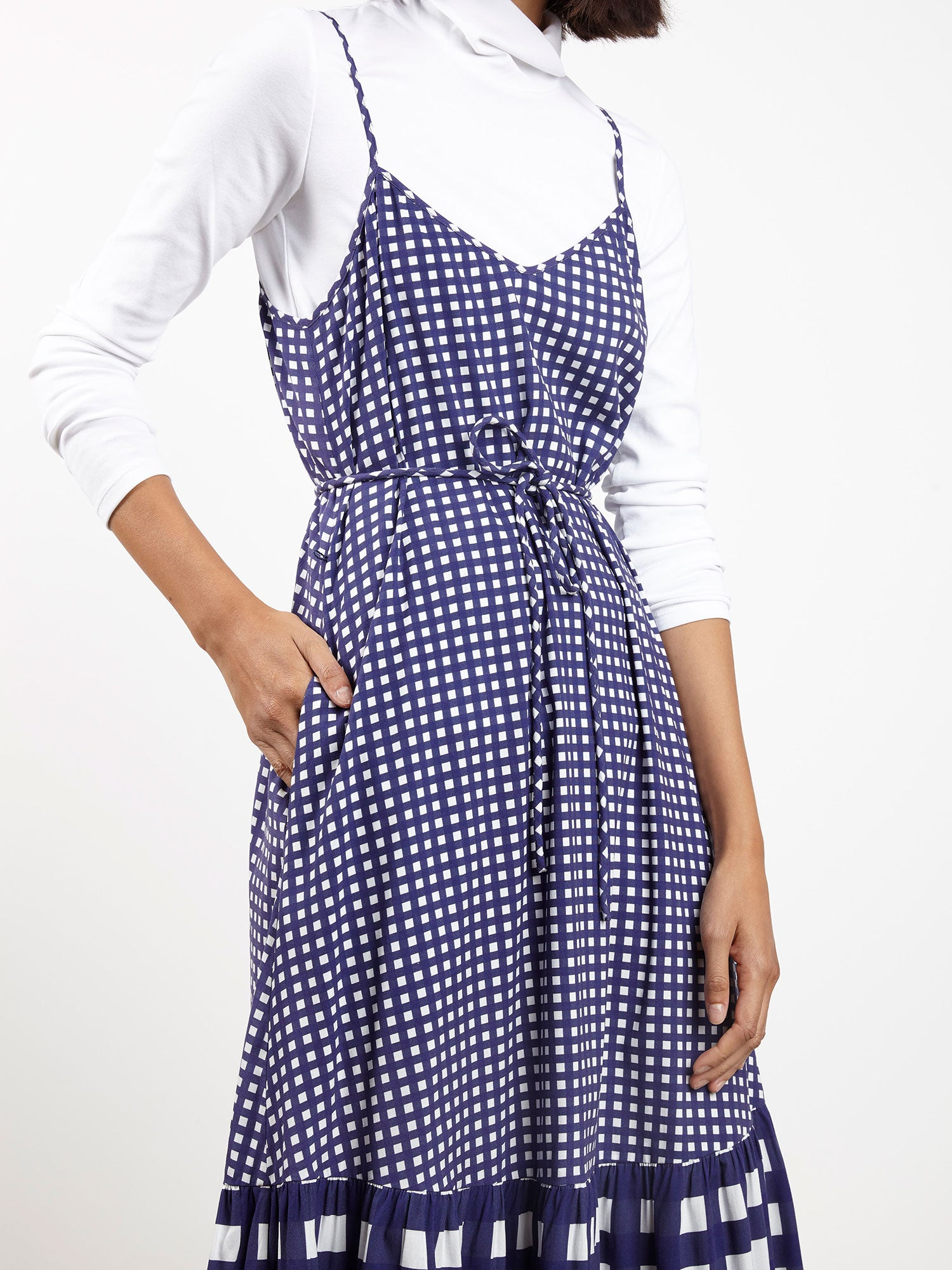 Trapeze Dress | Micro Navy Gingham