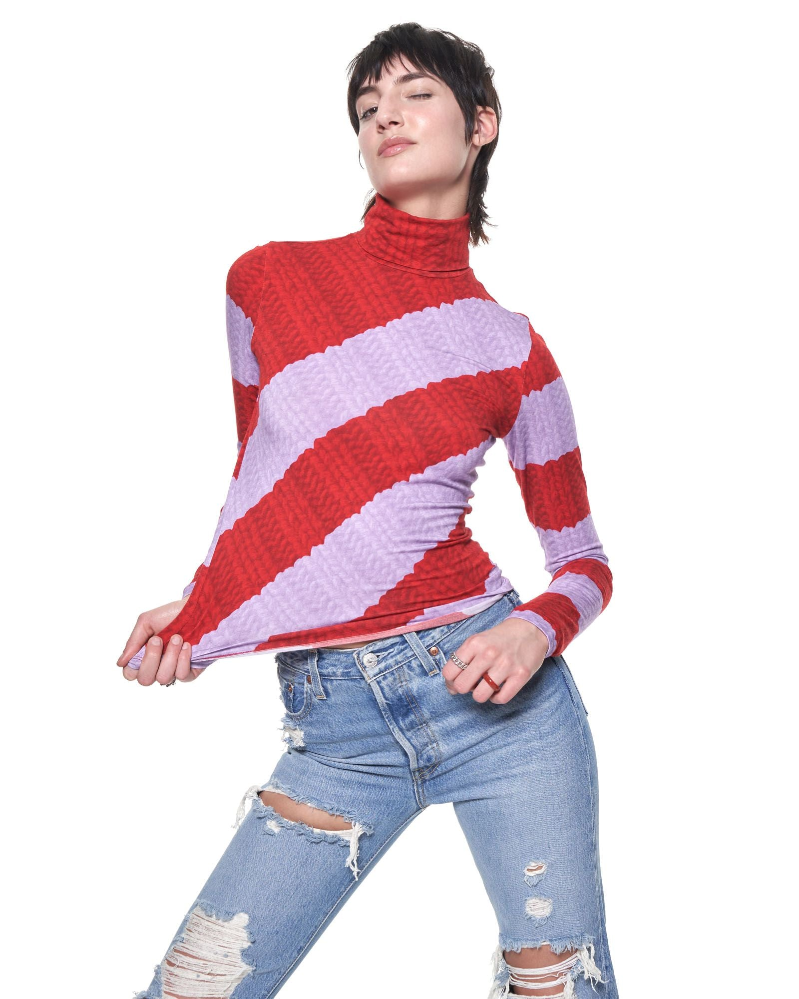 Turtleneck | Red Lilac Stripe