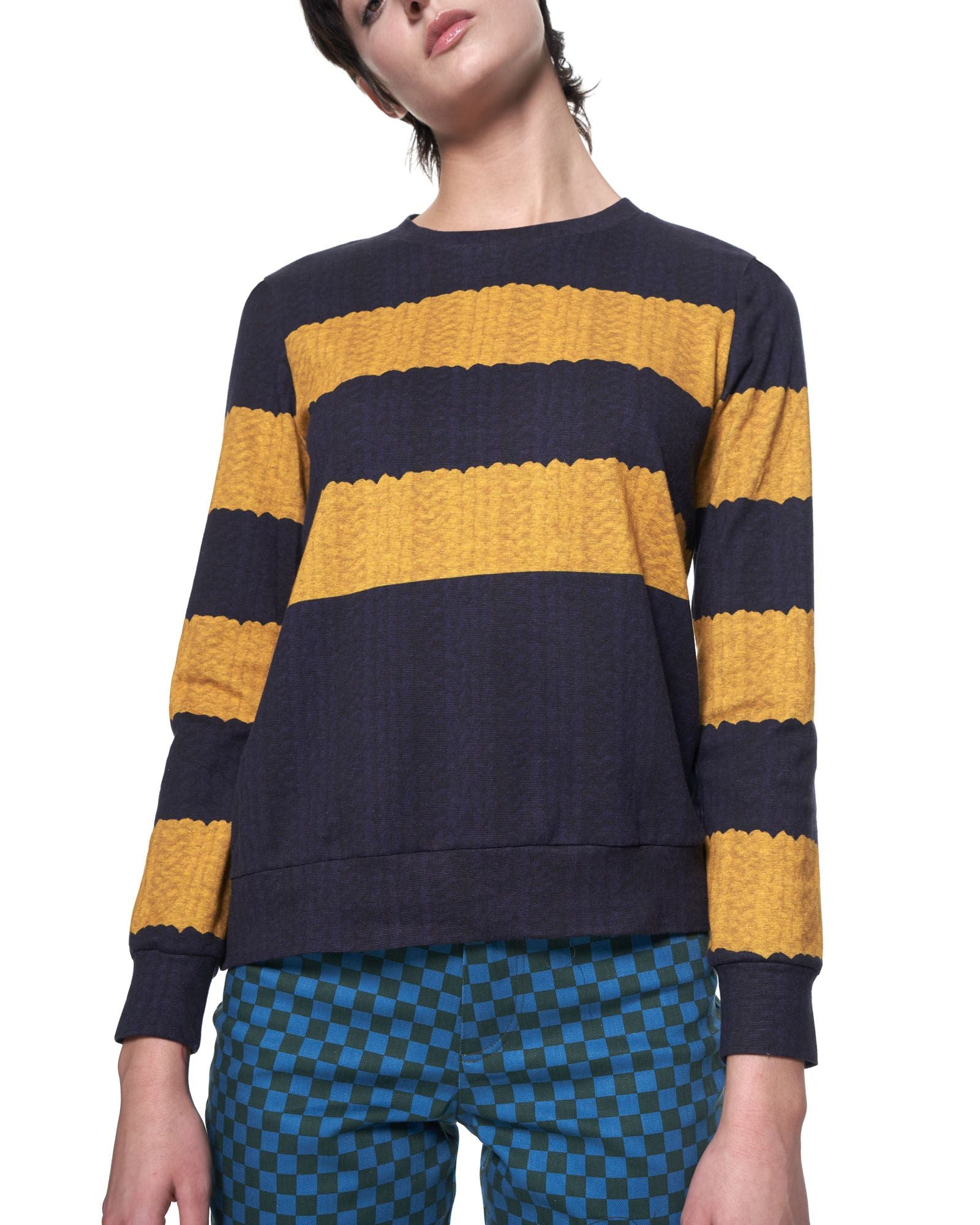 Rumi Sweatshirt | Navy Yellow Stripe