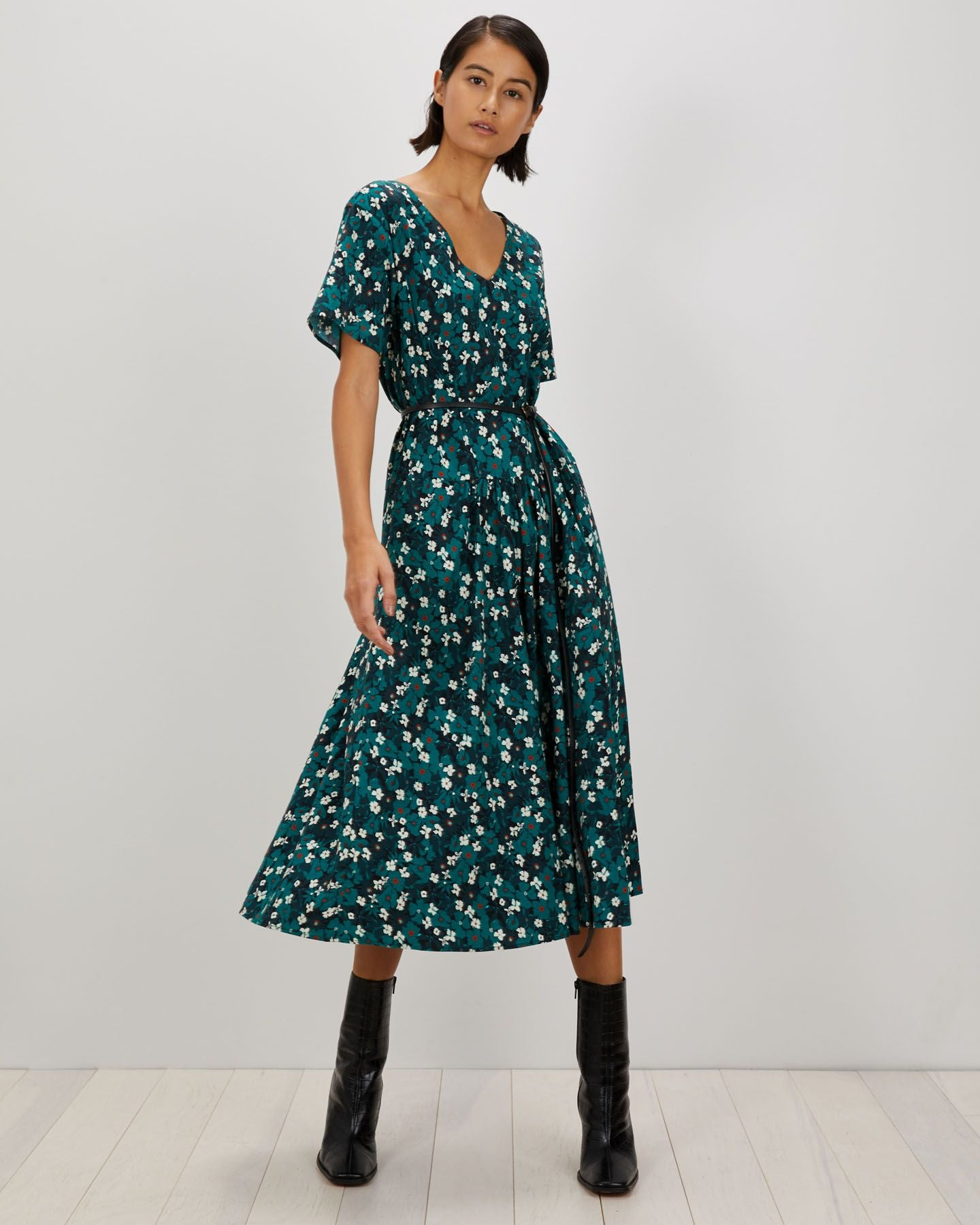 Sloane Dress | Dark Teal Primrose