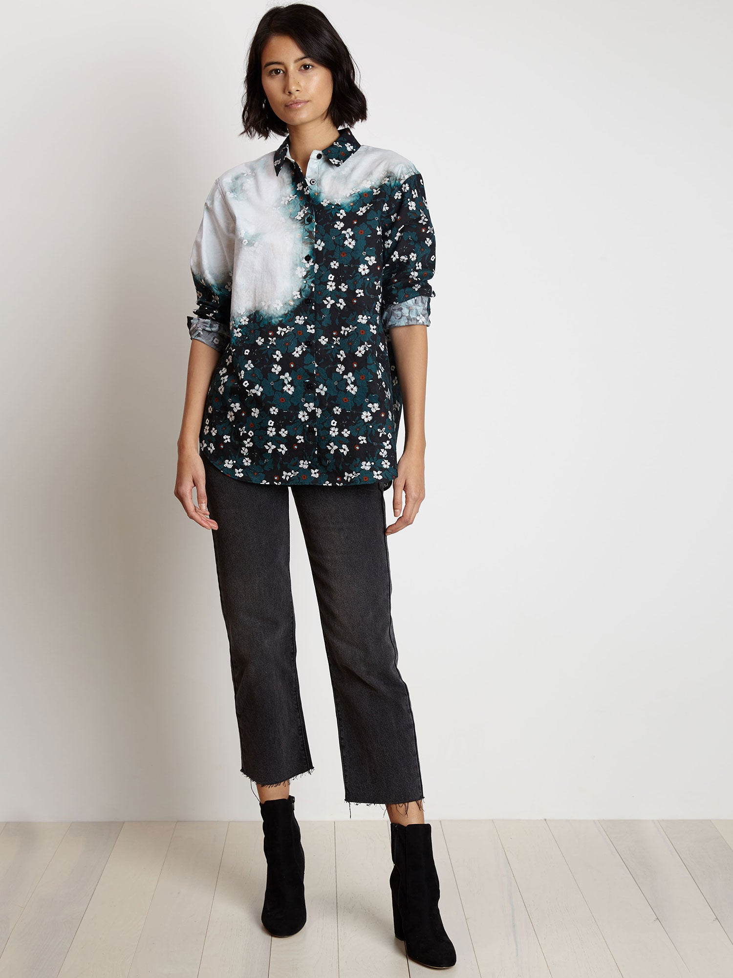 Oversized Buttondown Shirt | Bleached Teal Primrose