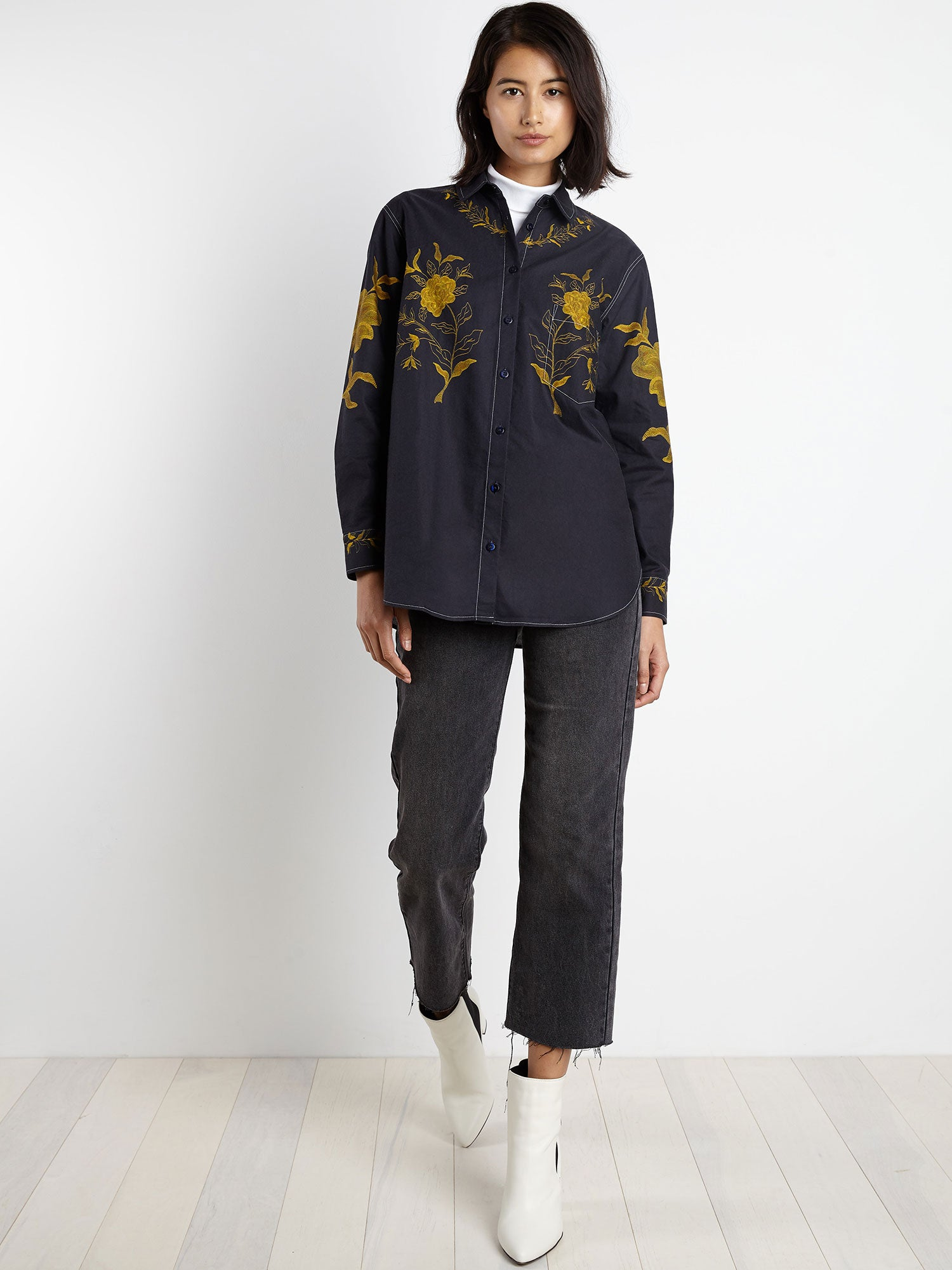 Zoe Shirt | Navy Gold Embroidered Floral
