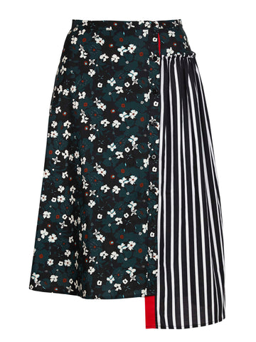 asymmetrical long skirt with mixed prints: floral and stripes