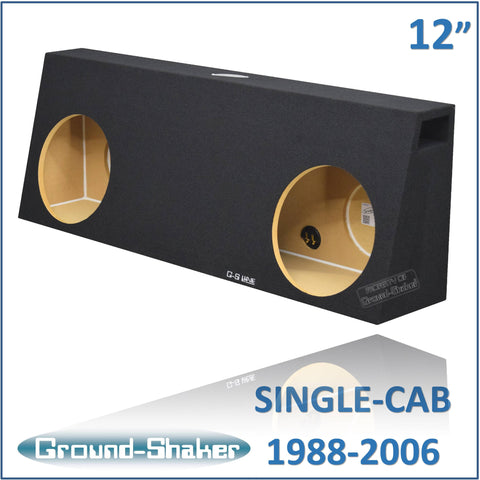"CHV-PT212B <br> BLACK 12"" DUAL PORTED SUB BOX, FITS CHEVY SILVERADO & GMC SIERRA REGULAR-CAB 1988-2006"