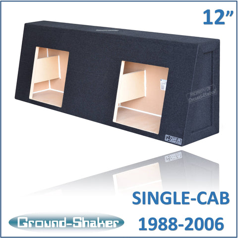"CHV-STKK212B <br>BLACK 12"" DUAL SEALED SUB BOX, FITS CHEVY SILVERADO & GMC SIERRA REGULAR-CAB 1988-2006"
