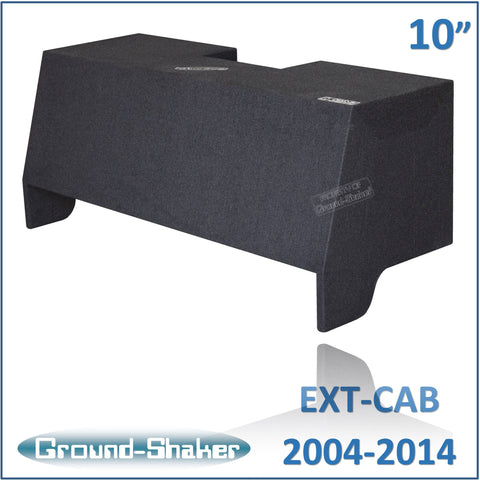 "GS-CQHV210B <br>BLACK 10"" DUAL SEALED SUBBOX, FITS CHEVY COLORADO & GMC CANYON EXT-CAB 2004-2014."