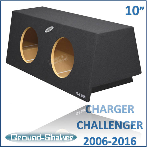 "GS-DMC210B <br>BLACK 10"" DUAL SEALED SUB BOX, FITS DODGE CHARGE 2006-2016 & CHALLENGER 2008-2016"