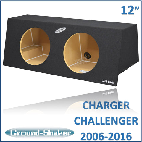 "GS-DMC212B <br>BLACK 12"" DUAL SEALED SUB BOX, FITS DODGE CHARGE 2006-2016 & CHALLENGER 2008-2016"