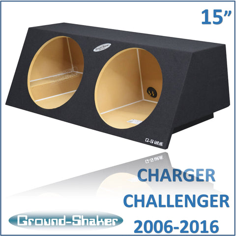 "GS-DMC215B <br>BLACK 15"" DUAL SEALED SUB BOX, FITS DODGE CHARGE 2006-2016 & CHALLENGER 2008-2016"