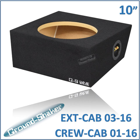"GS- EF150110B <br> BLACK 10"" SINGLE SEALED SUB BOX, FITS FORD F-150 EXT-CAB 2003-2016 & CREW-CAB 2001-2016"