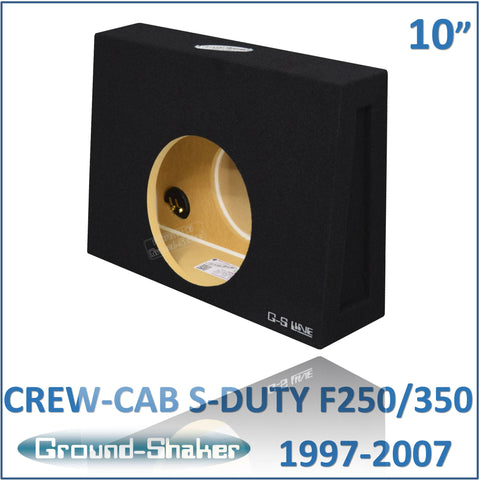 "GS-F250110B <br>BLACK 10"" SINGLE SEALED SUB BOX, FITS FORD F250/F350 SUPER DUTY CREW-CAB 1997-2007"