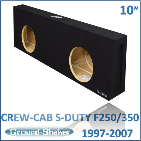 "GS-F250210B <br>BLACK 10"" DUAL SEALED SUB BOX, FITS FORD F250/F350 SUPER DUTY CREW-CAB 1997-2007"