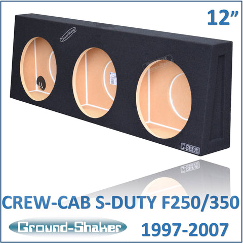 "GS-F250312B <br>BLACK 12"" TRIPLE SEALED SUB BOX, FITS FORD F250/F350 SUPER DUTY CREW-CAB 1997-2007"