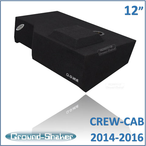 "GS-GCHV112B <br>BLACK 12"" SINGLE SEALED SUB BOX FITS CHEVY SILVERADO & GMC SIERRA CREW-CAB 2014-2016"
