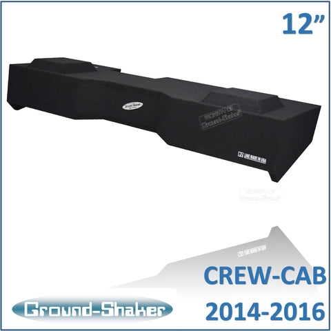 "GS-GCHV212B <br>BLACK 12"" DUAL SEALED SUB BOX FITS CHEVY SILVERADO & GMC SIERRA CREW-CAB 2014-2016"