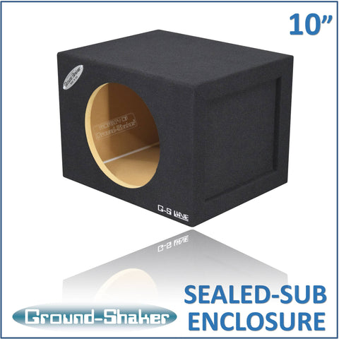 "GS-SQ110B <br>BLACK 10"" SINGLE MID-SIZE SEALED SUB BOX"