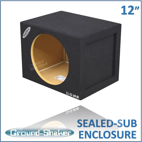 "GS-SQ112B <br>BLACK 12"" SINGLE MID-SIZE SEALED SUB BOX"