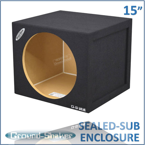 "GS-SQ115B <br>BLACK 15"" SINGLE MID-SIZE SEALED SUB BOX"