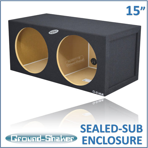 "GS-SQ215B <br>BLACK 15"" DUAL MID-SIZE SEALED SUB BOX"