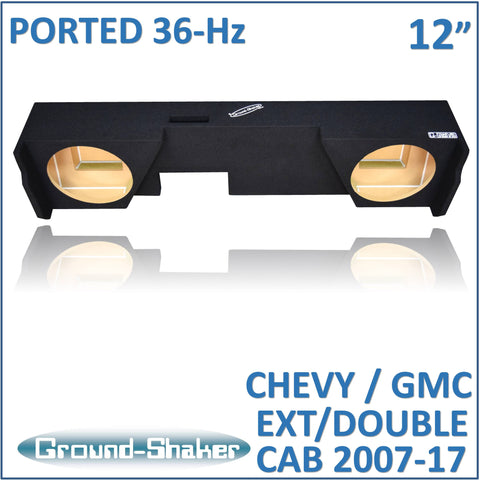 "GS-JCHVP212B <br>   BLACK 12"" DUAL PORTED SUB BOX, FITS CHEVY SILVERADO & GMC SIERRA EXT/DOUBLE-CAB 2007-2017"
