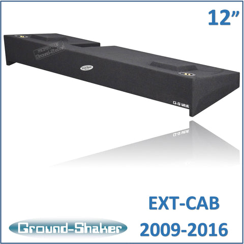 "GS-KF150212B <br> BLACK 12"" DUAL SEALED SUB BOX, FITS FORD F-150 EXT-CAB 2009-2016"