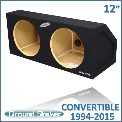"GS-MCV212B <br> BLACK 12"" DUAL SEALED SUB BOX, FITS FORD MUSTANG CONVERTIBLE 1994-2015 & COUPE 2005-2015"