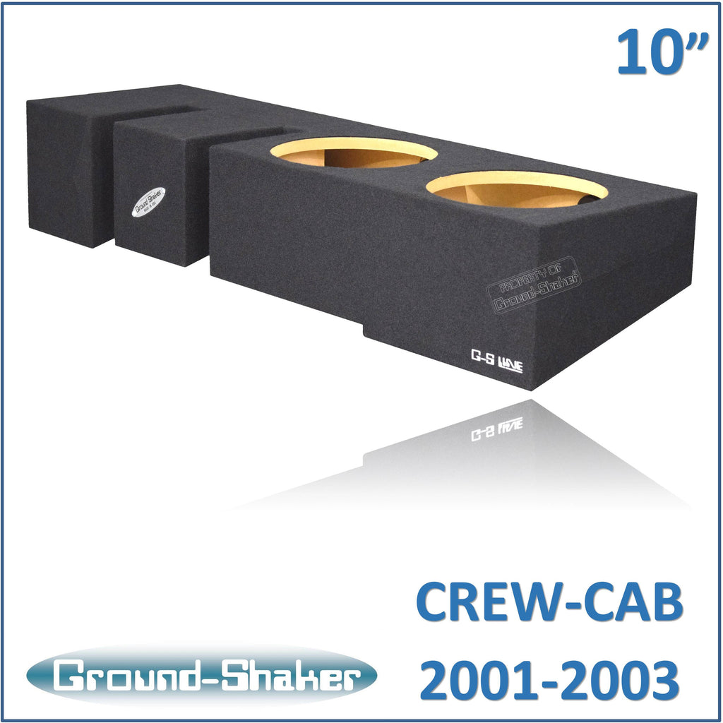 "GS-MF150210B <br>BLACK 10"" DUAL SEALED SUB BOX, FITS FORD F-150 CREW-CAB 2001-2003"