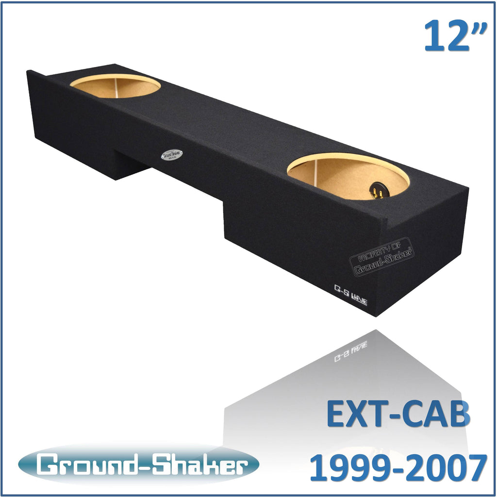 "GS-NCHV212B  <br> BLACK 12"" DUAL SEALED SUB BOX, FITS CHEVY SILVERADO & GMC SIERRA EXT-CAB 1999-2007"