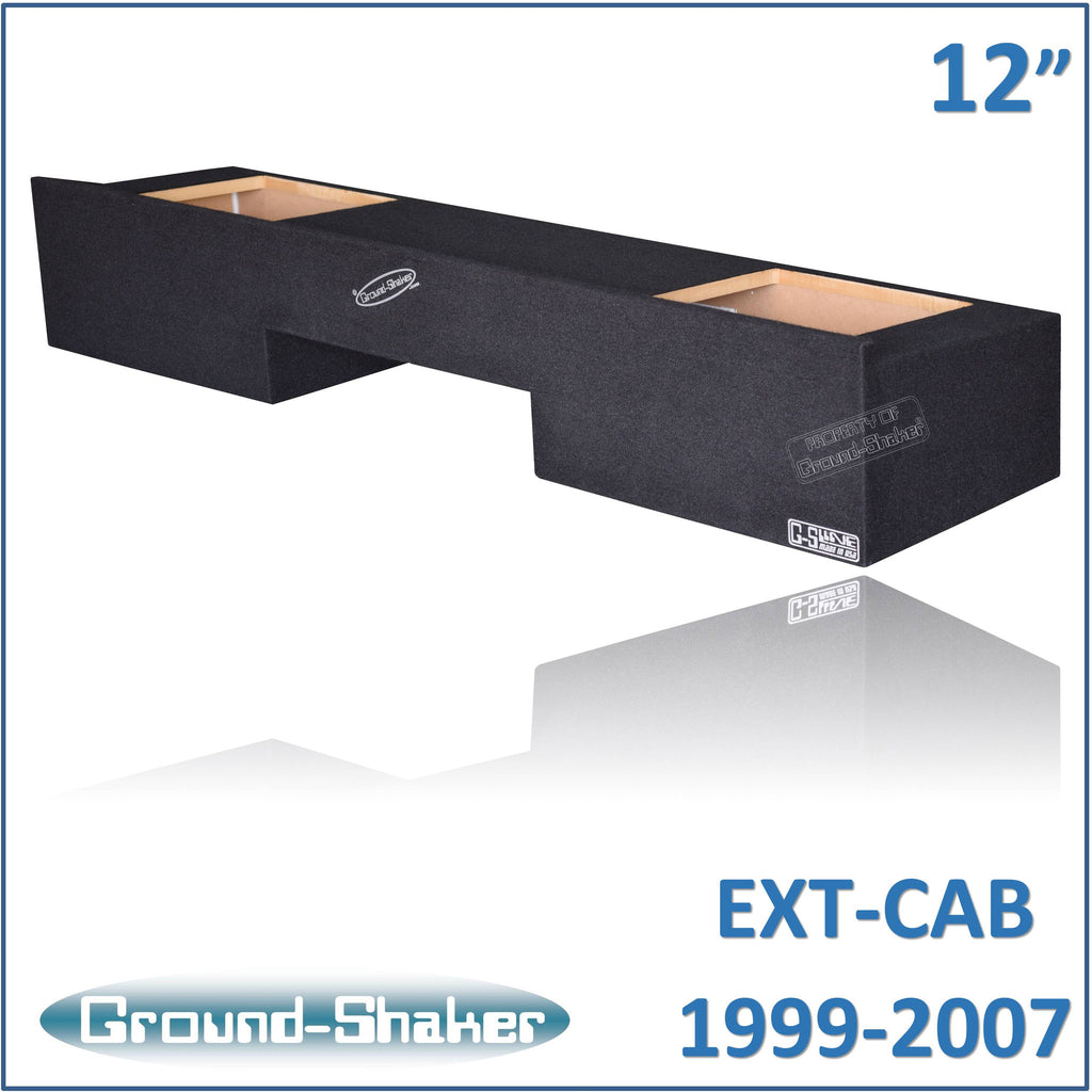 "GS-NCHVKK212B <br> BLACK 12"" DUAL SEALED SOLO-BARIC SUB BOX, FITS CHEVY SILVERADO & GMC SIERRA EXT-CAB 1999-2007"