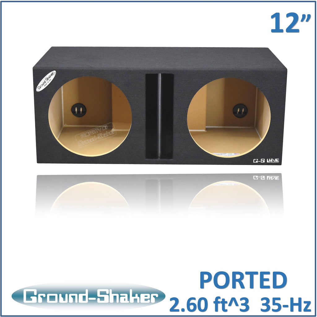 "GS-NP212B <br>BLACK 12"" DUAL SLOT-CENTER PORTED SUB BOX"