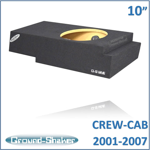 "GS-QCHV110B <br> BLACK 10"" SINGLE SEALED SUB BOX, FITS CHEVY SILVERADO & GMC SIERRA CREW-CAB 2001-2007"